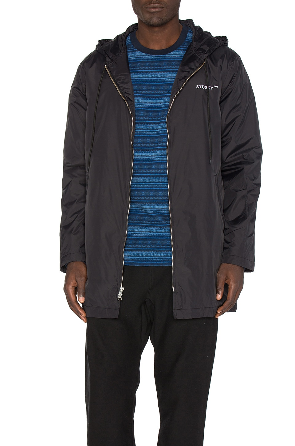 Insulated Long Hooded Coach Jacket by Stussy