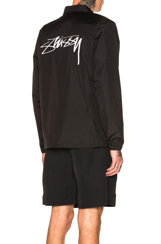 STUSSY Logo Print Shirt Jacket in Black