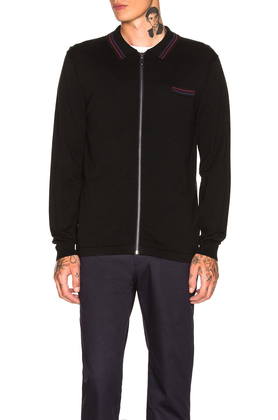 Stussy Perry Zip Polo Knit in Black