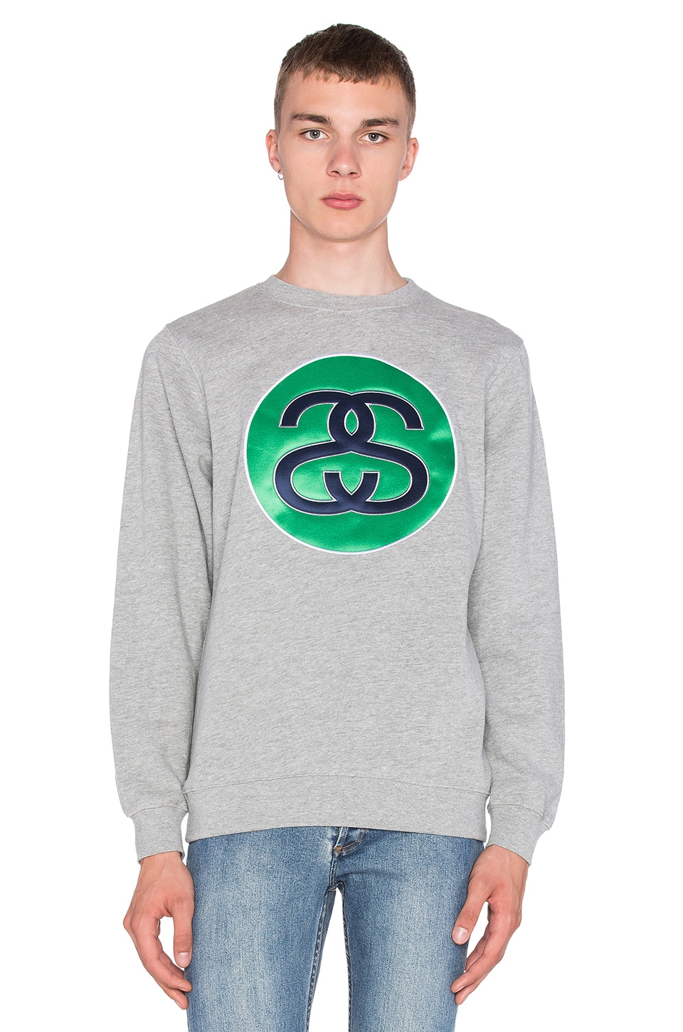 5285a690f1 Stussy SS Link Sweatshirt in Grey Heather | REVOLVE