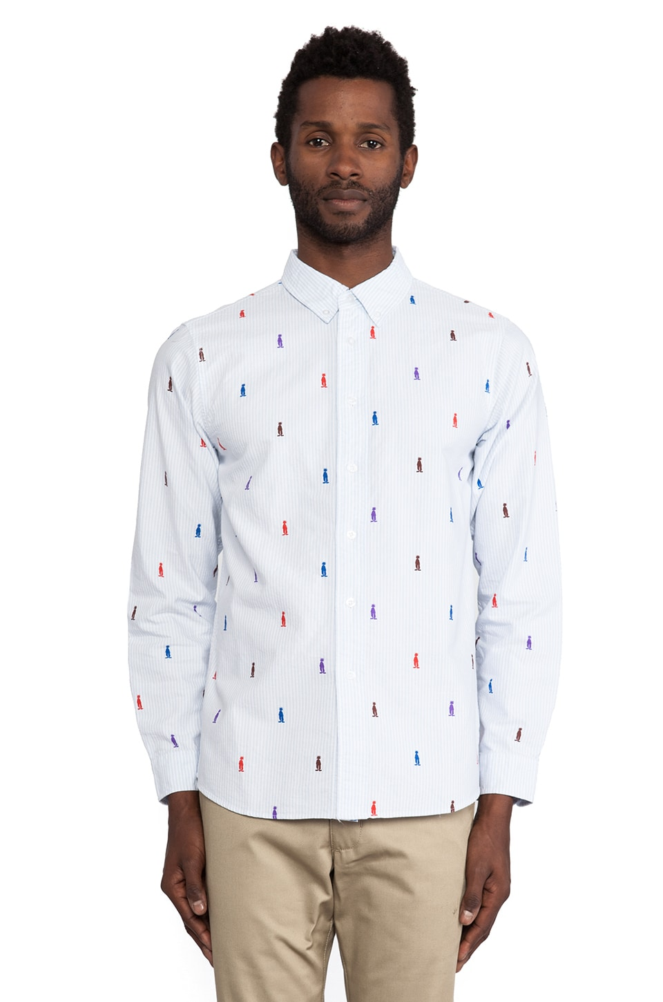 Stussy King Stripe Button Down in Light Blue