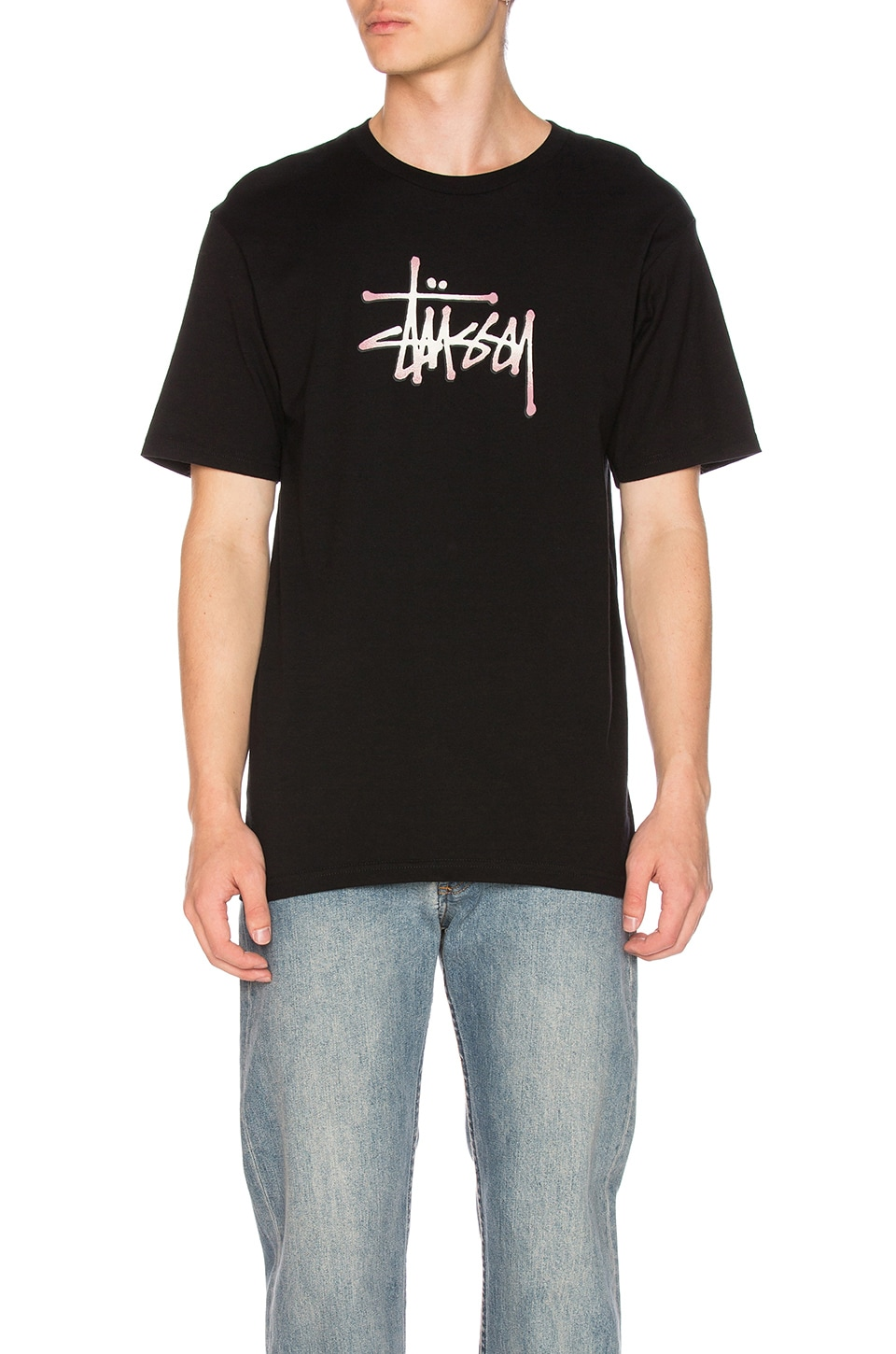 Black t shirt mens - Stipple Stussy Tee