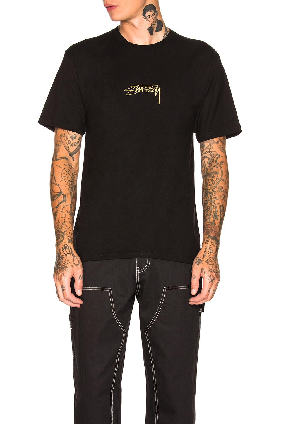 Stussy Smooth Stock Tee in Black