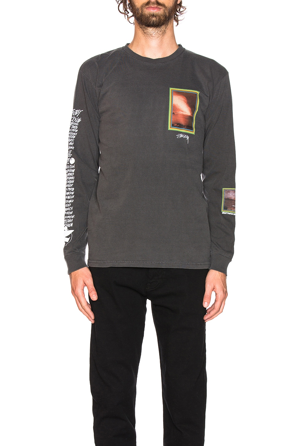 Stussy Inferno Long Sleeve Tee in Black