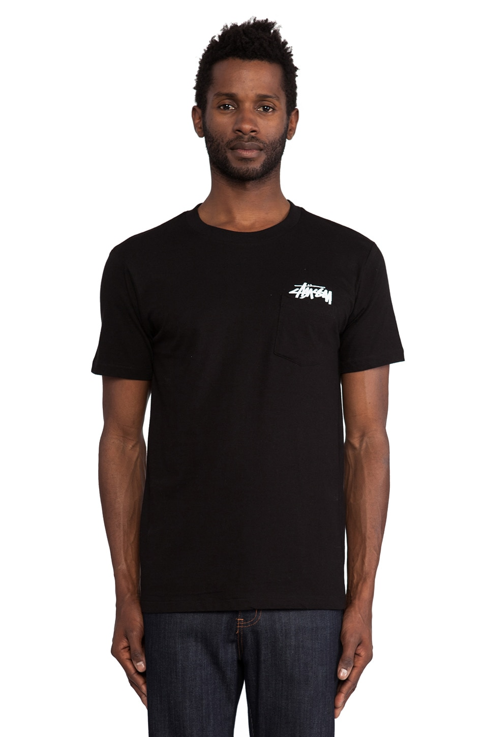 Stussy Stock Pocket Tee in Black