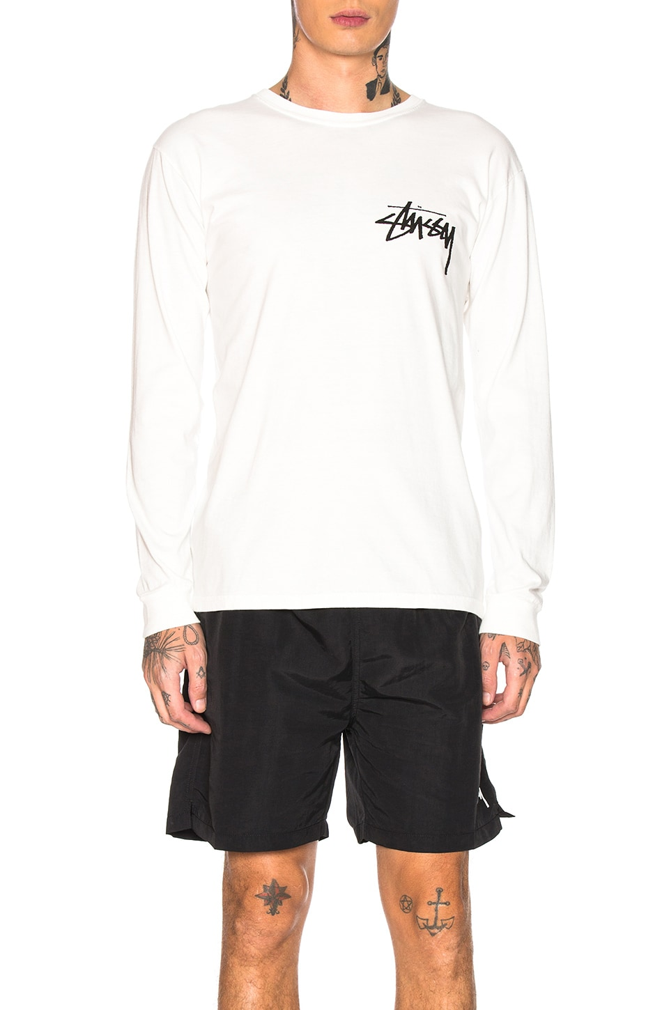 Stussy Stock Long Sleeve Tee in Natural