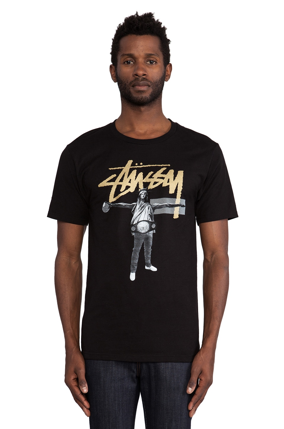 Stussy Liberty B Ball Tee in Black & Metallic Gold