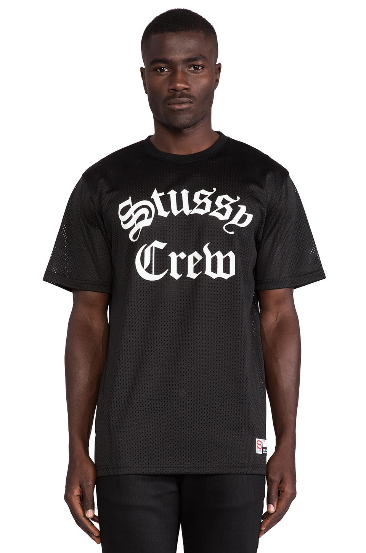 Stussy Crew Mesh Tee in Black