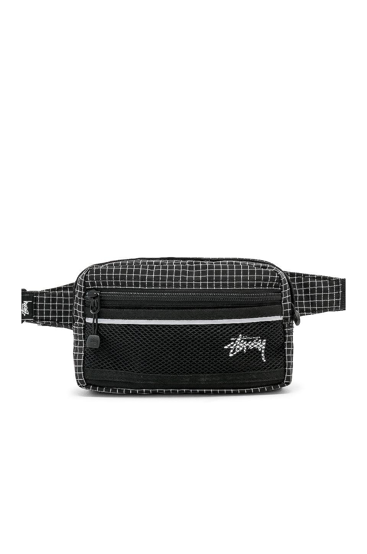 Stussy Ripstop Nylon Waist Bag in Black