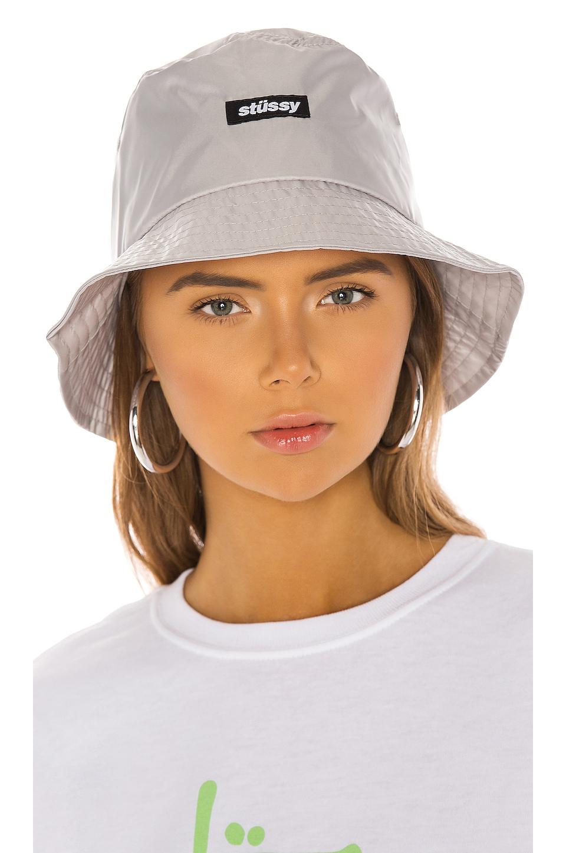 5aa192f11 Stussy Langley Shiny Bucket Hat in Grey   REVOLVE