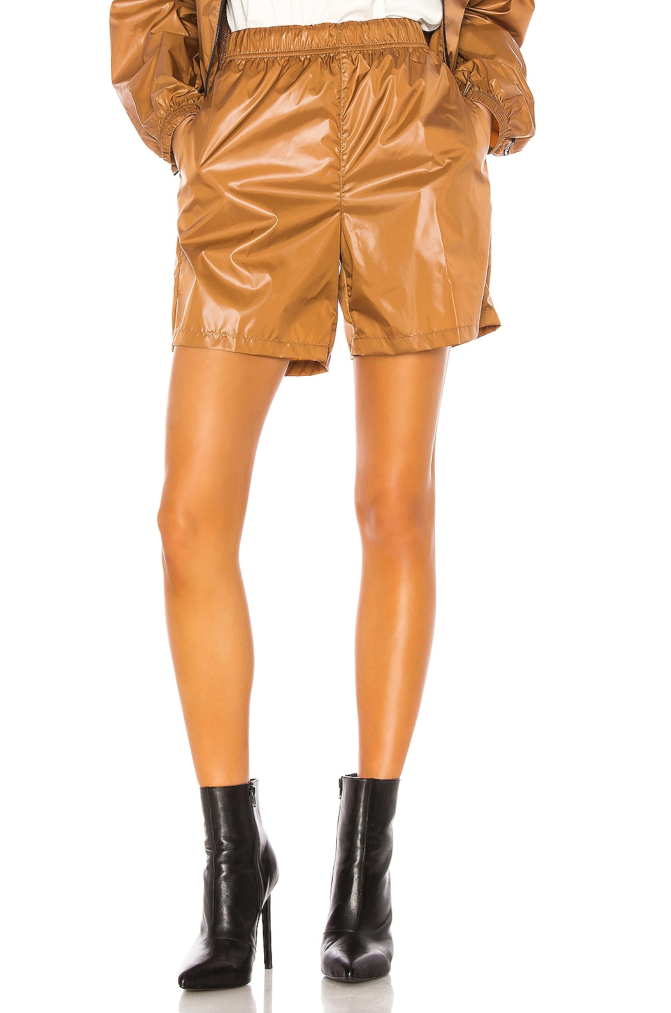 Stussy Langley Shiny Baggy Short in Tan