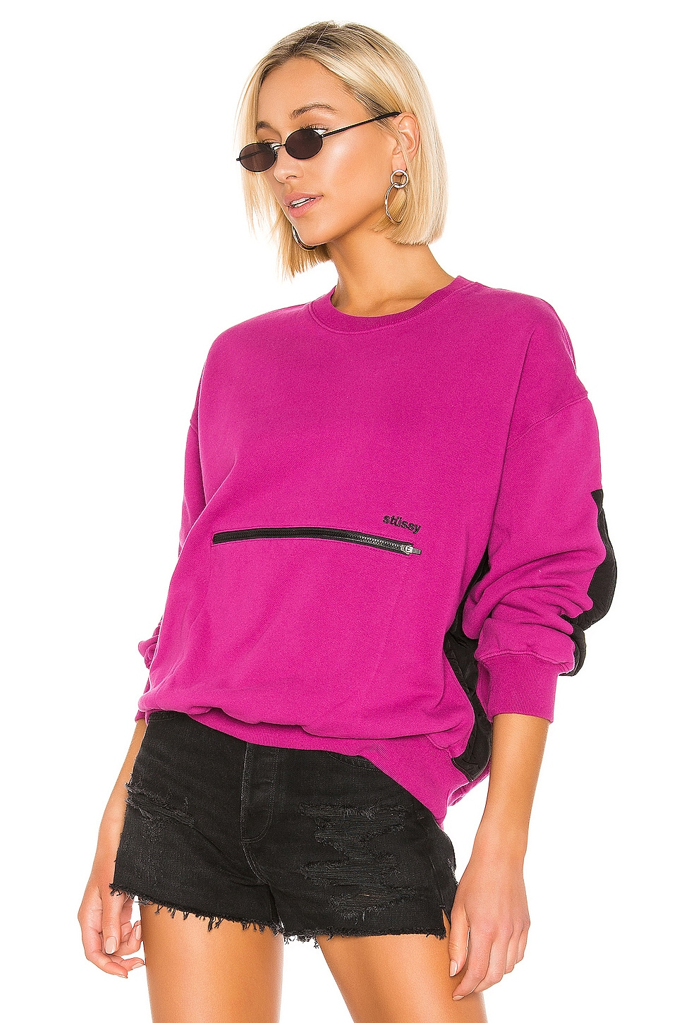 Stussy Simone Pocket Fleece Crew Sweater in Berry