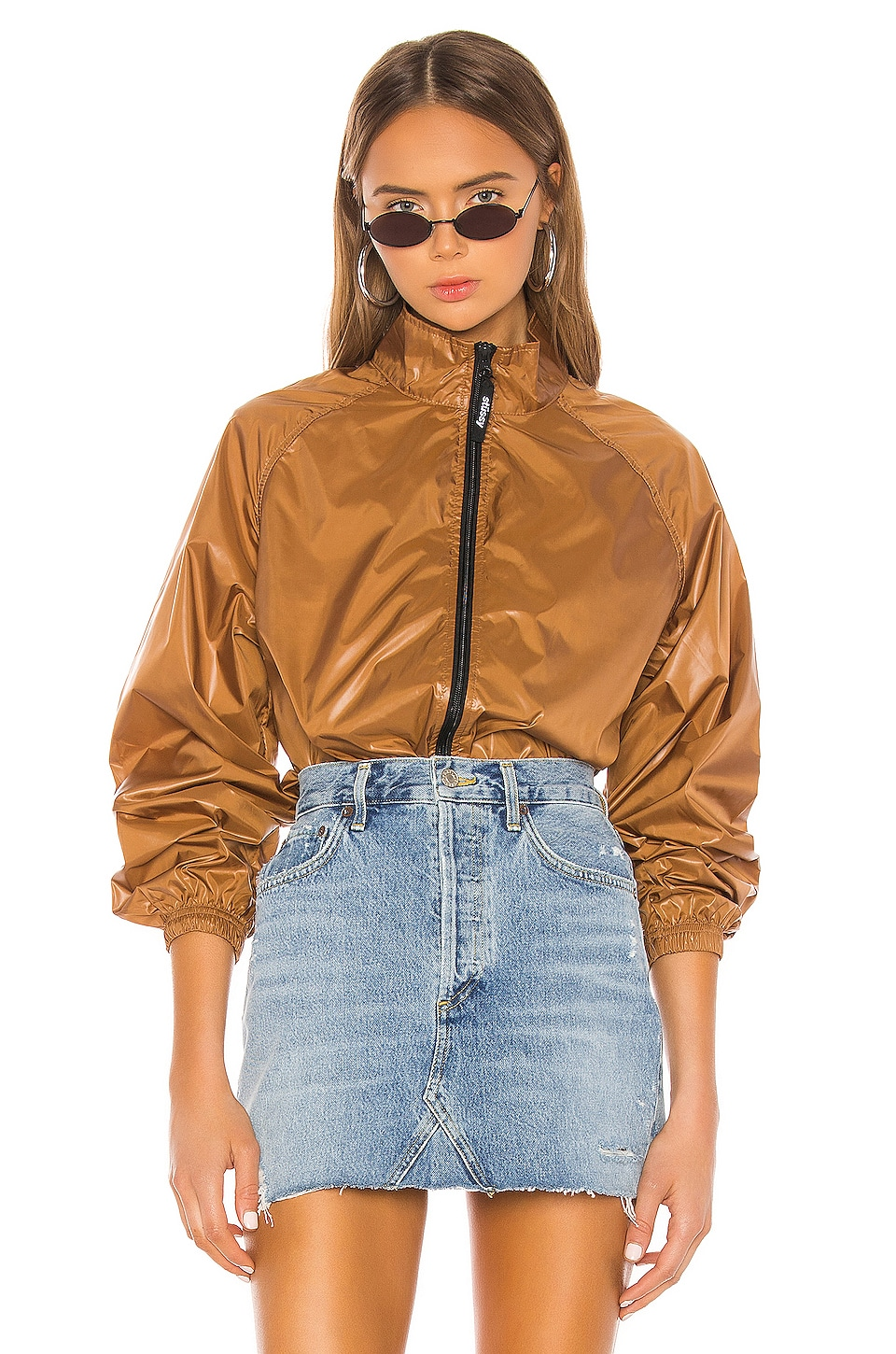 Stussy Langley Shiny Zip Jacket in Tan