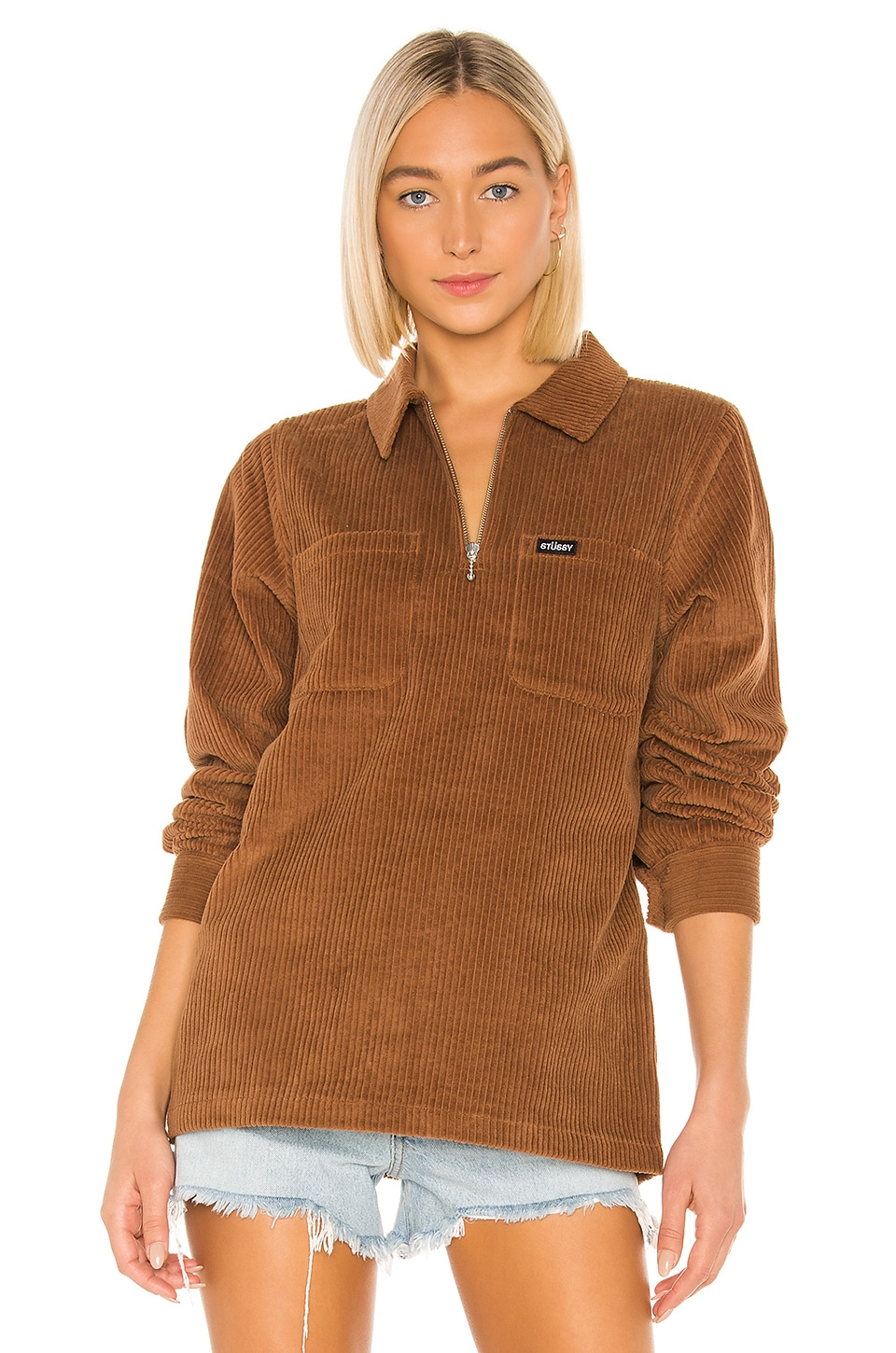 Stussy Garrett Big Wale Corduroy Top in Brown