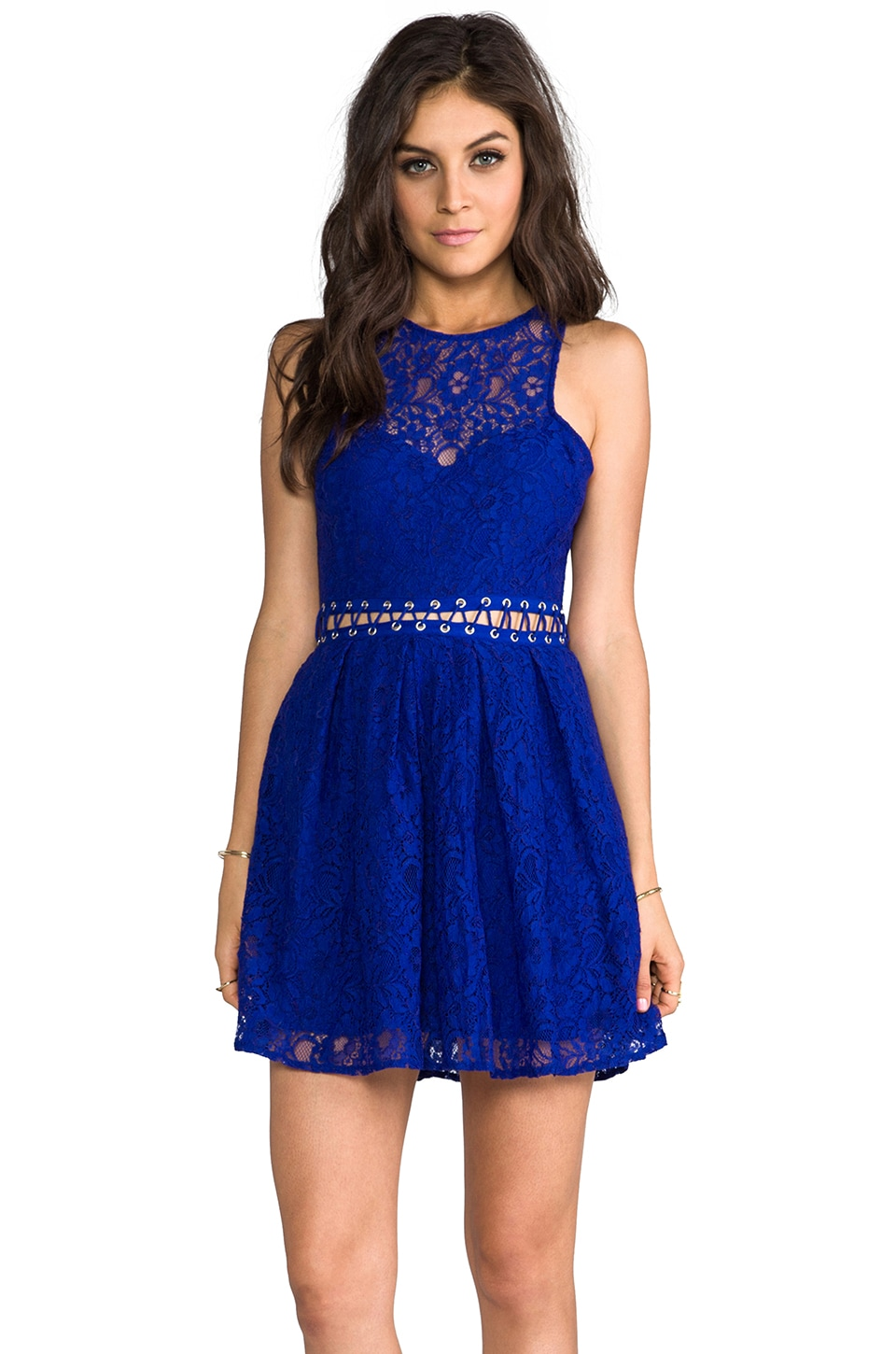 STYLESTALKER Bloc Party Dress in Electric Blue
