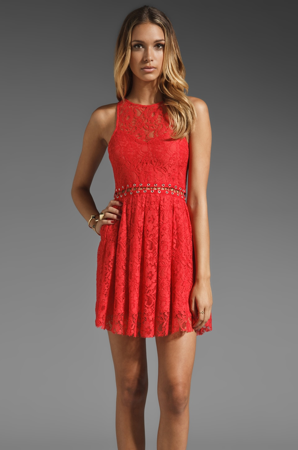 STYLESTALKER Love Me Do Lace Up Dress in Coral Red