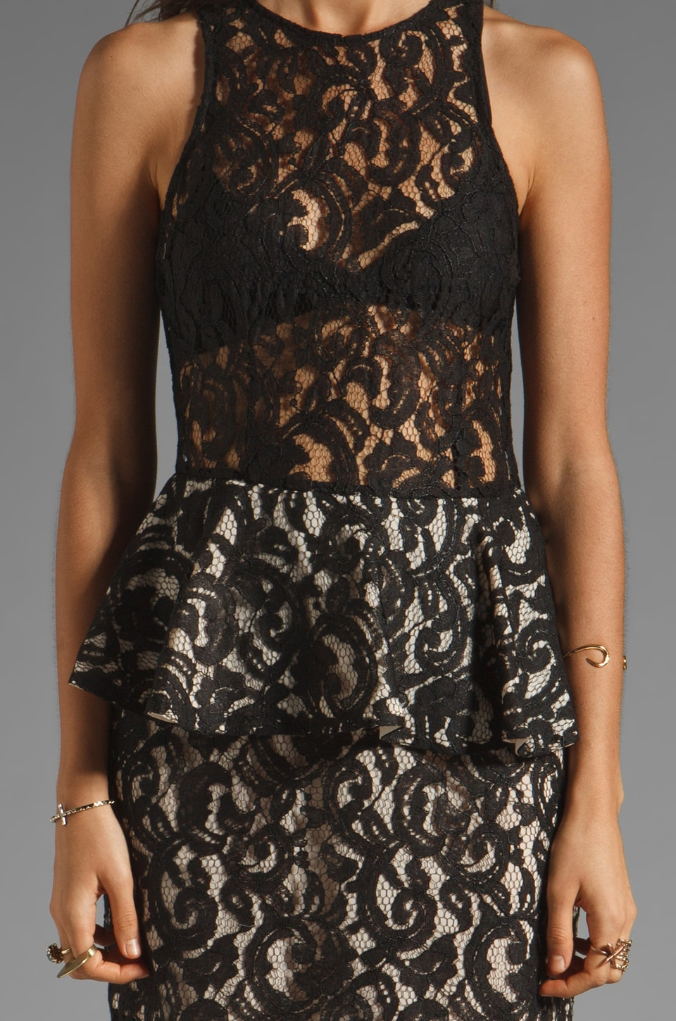 Style Stalker Panthers Lace Dress in Black