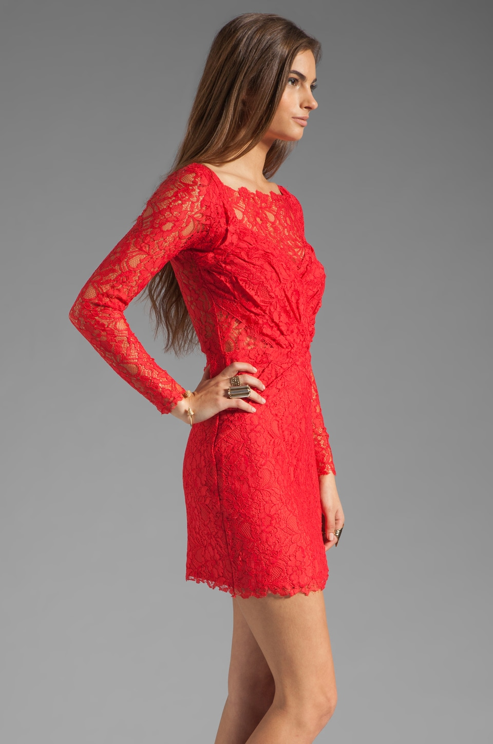 STYLESTALKER Love Me Do Rouched Dress in Coral Red