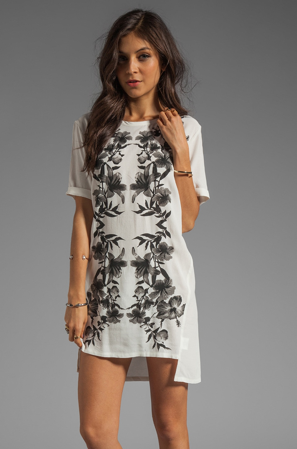 STYLESTALKER Parallel Universe Dress in Black/White Floral