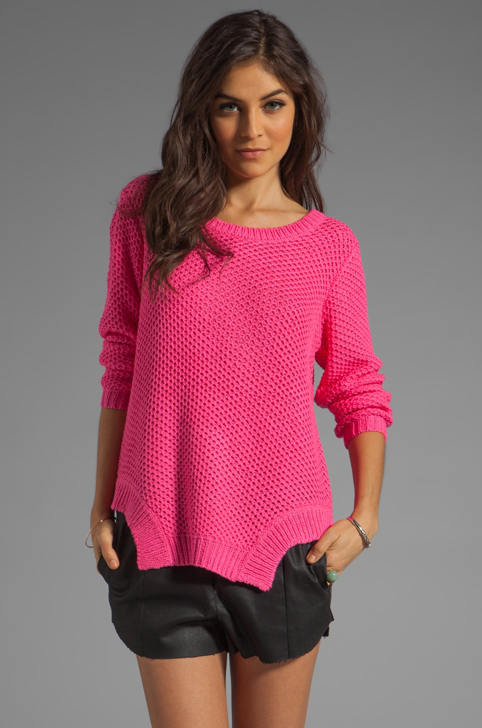 STYLESTALKER Moon Base Sweater in Vivid Pink