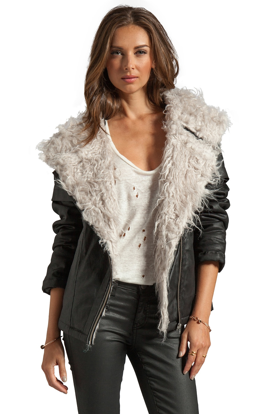 STYLESTALKER Cosmic Faux Fur Parka in Black