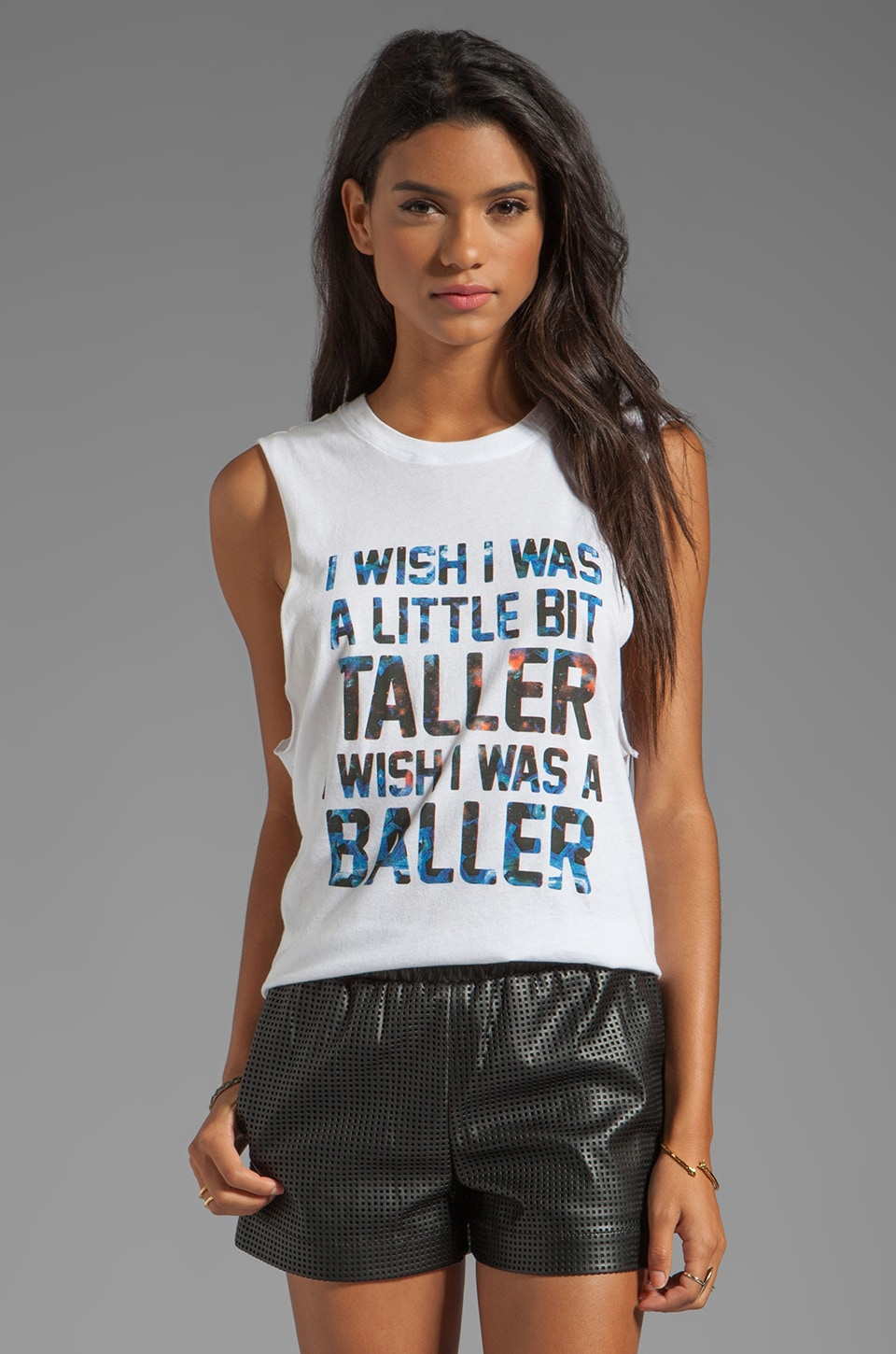 STYLESTALKER I Wish I Was A Little Bit Taller Cut-Off Tank in White