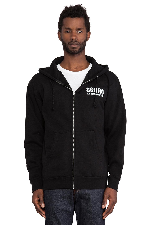 SSUR NYFC Zip Hoodie in Black