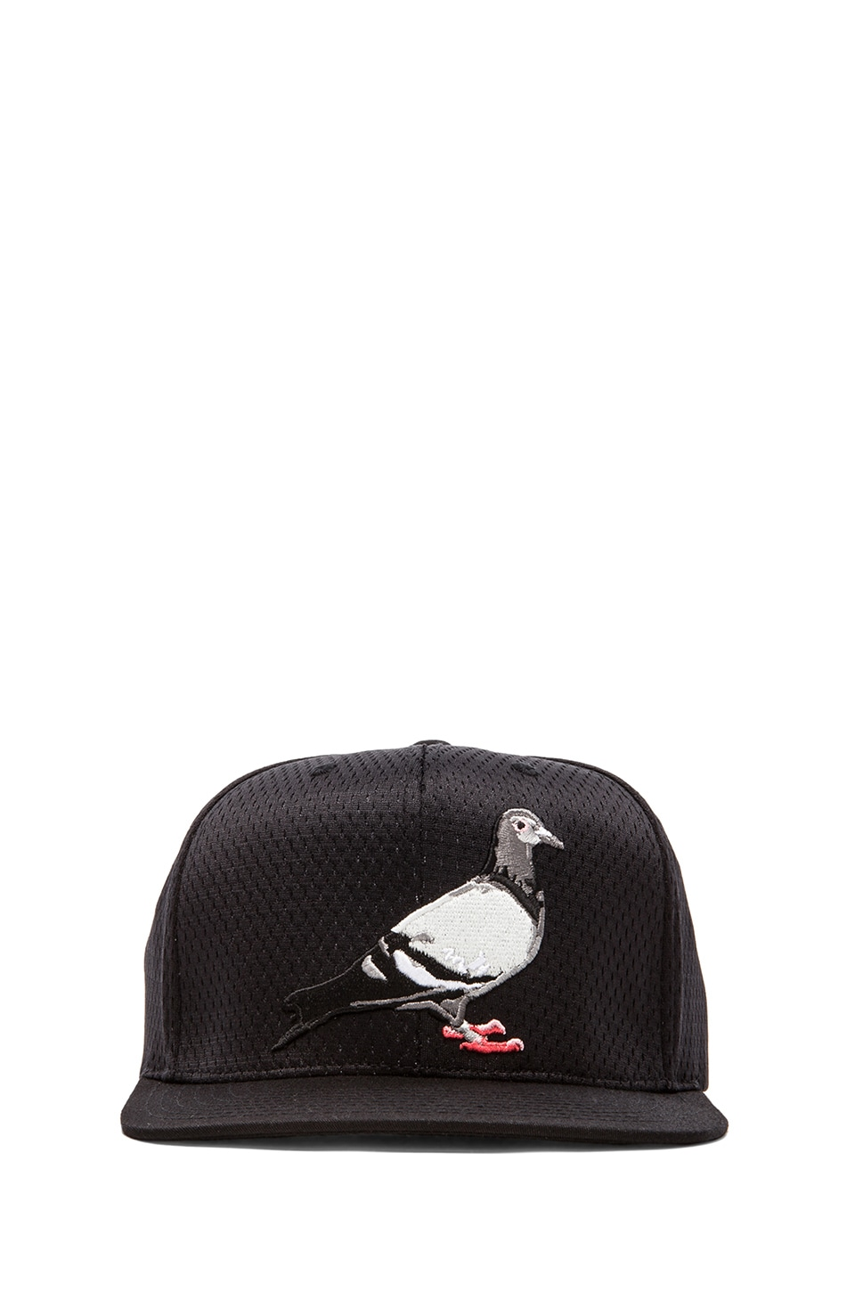 Staple Mesh M&N Pigeon Snapback in Black