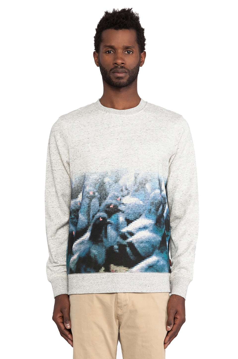 Staple Pixel Pigeon Crewneck in Heather Grey
