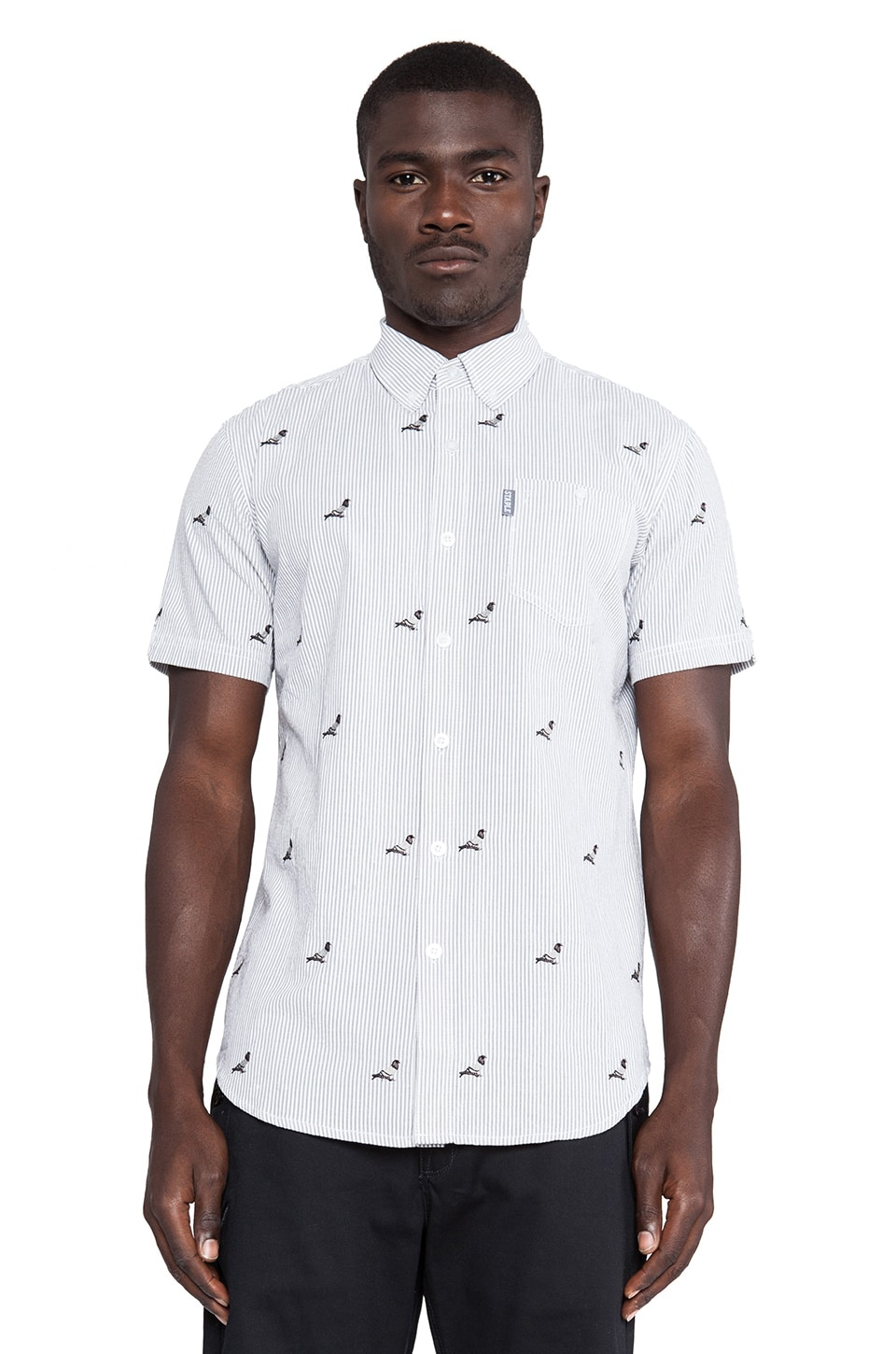Staple All Over Pigeon Button Down in White