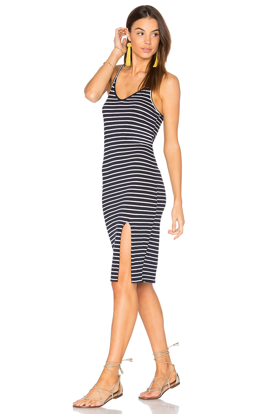 Stateside Stripe Midi Dress in Navy
