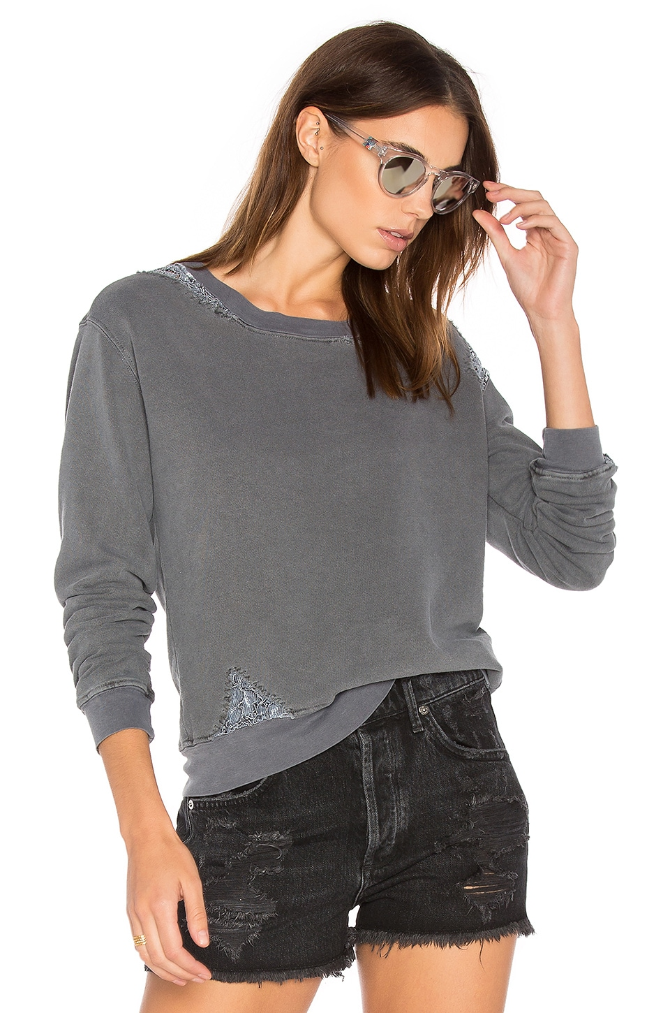 French Terry Sweatshirt with Lace by Stateside