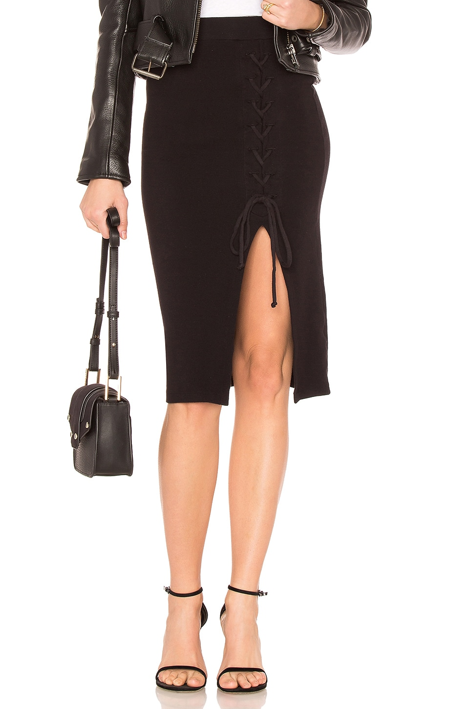 Stateside High Waisted Lace Up Skirt in Black