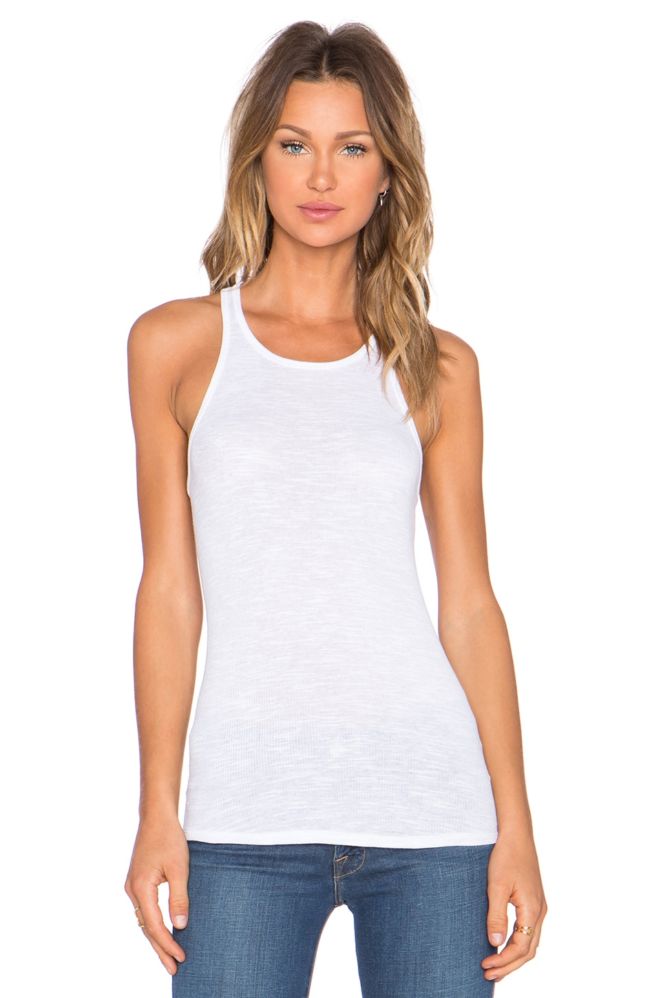 Stateside 2x1 Slub Rib Tank in White