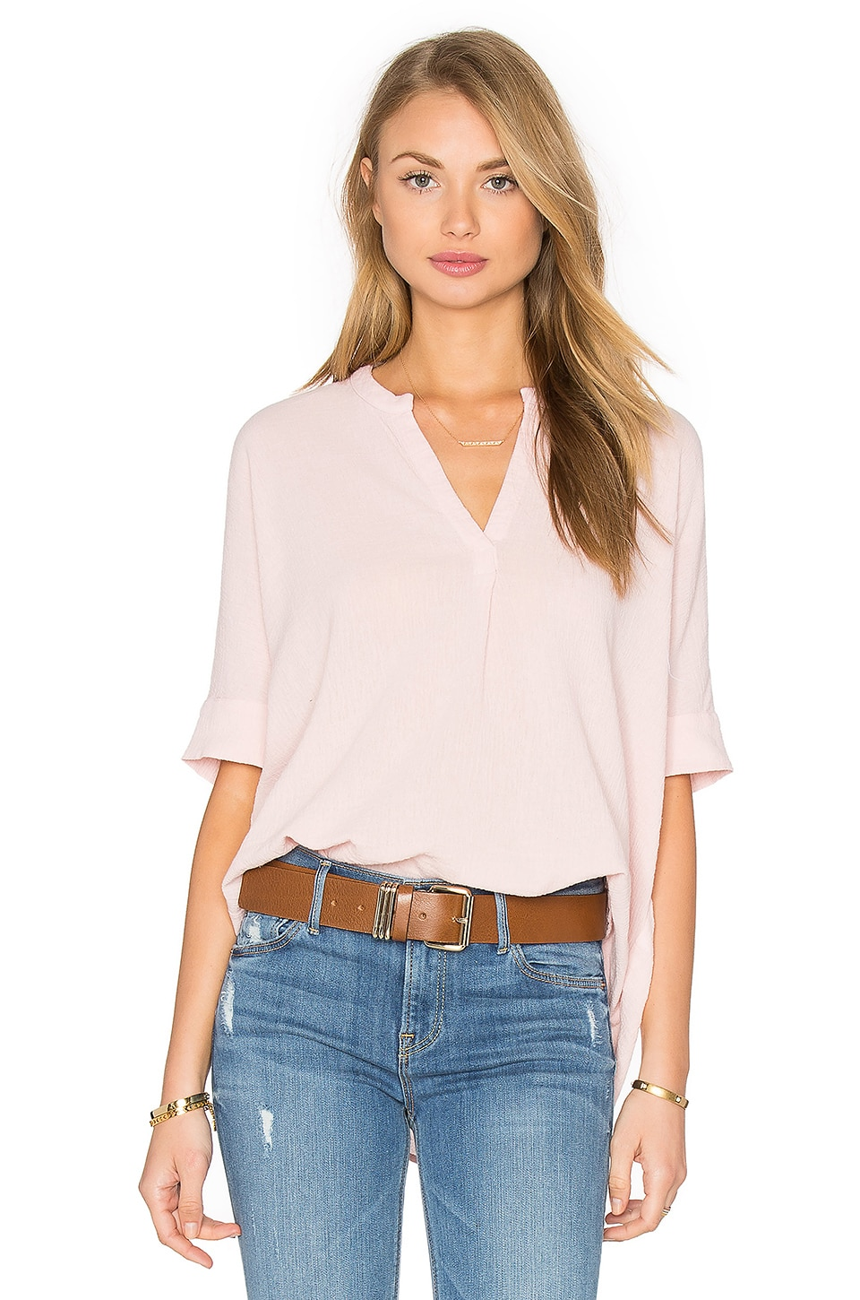 Stateside Bubble Gauze Short Sleeve Blouse in Rose