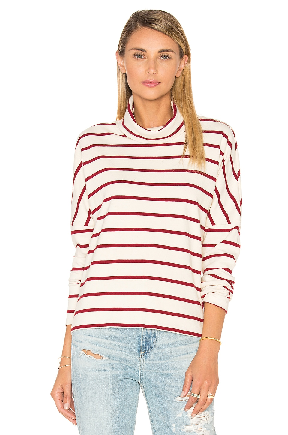 Stateside Wine Stripe Turtleneck in Cream