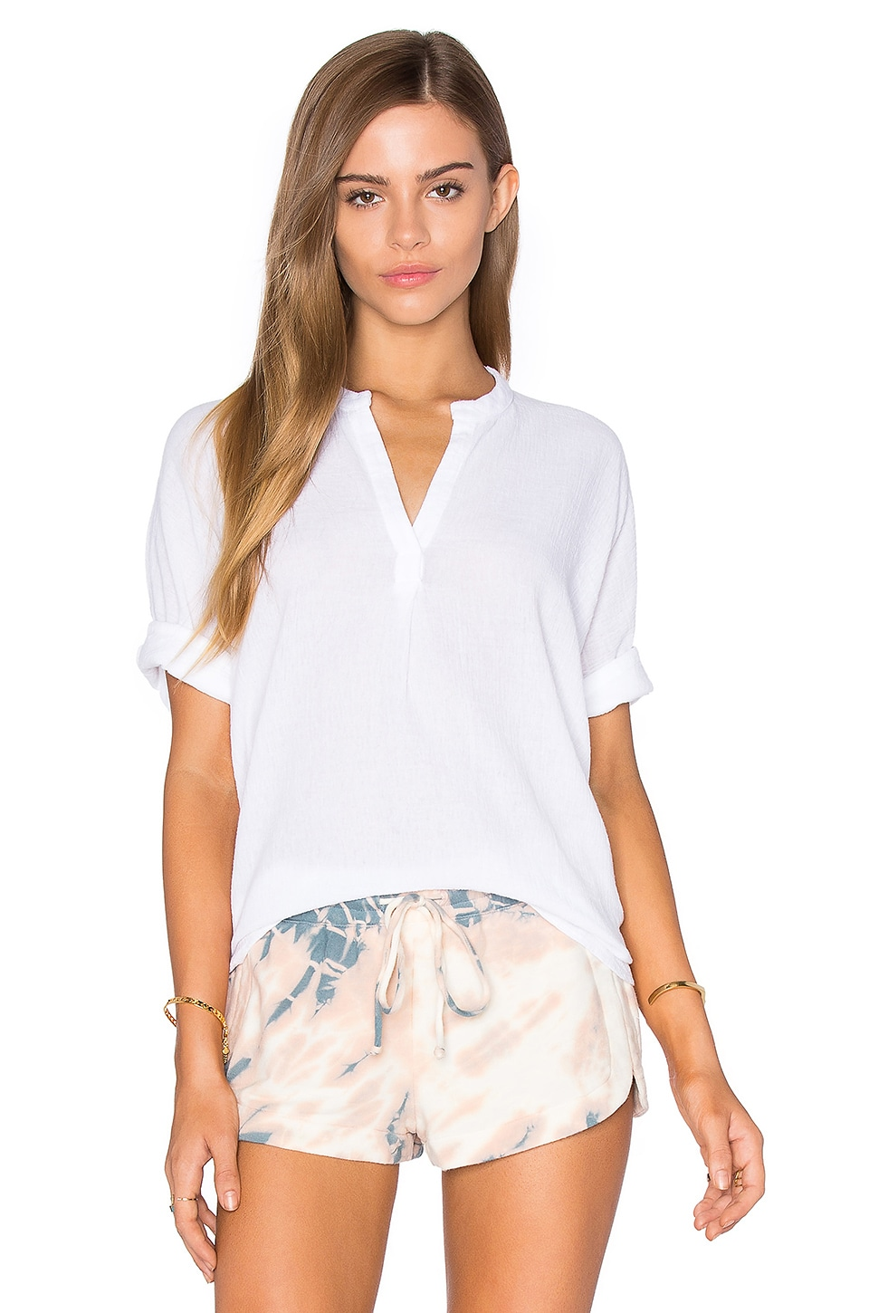 Stateside Bubble Gauze Short Sleeve Blouse in White