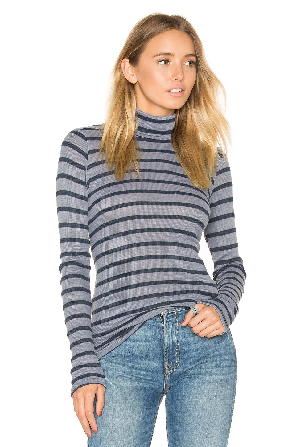 Stateside Stripe Thermal Turtleneck Sweater in Navy & Charcoal