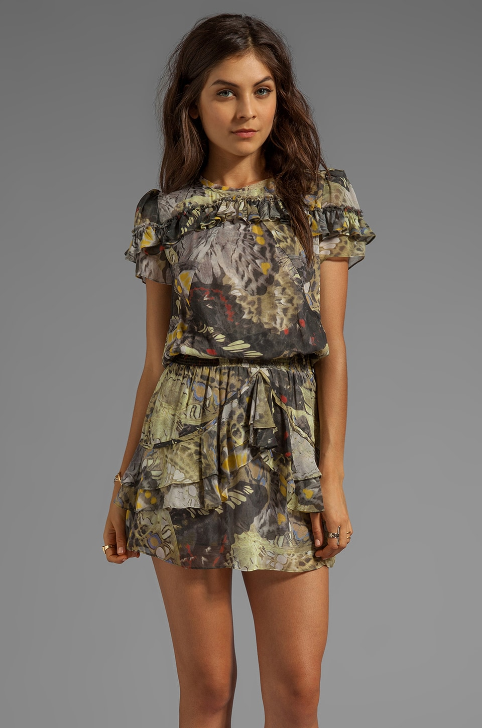 Skaist Taylor Printed Short Dress in Butterfly Print