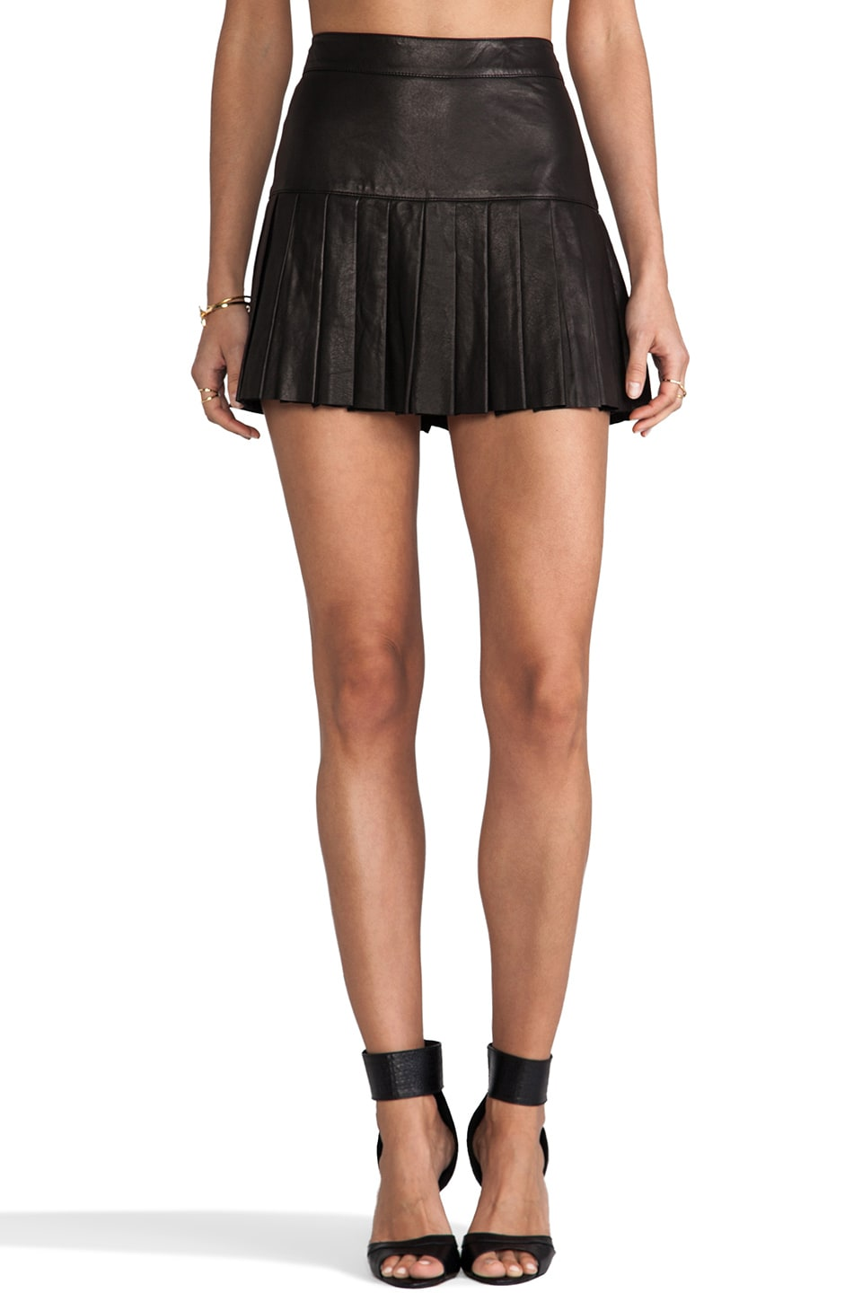 Skaist Taylor Leather Pleated Skirt in Black