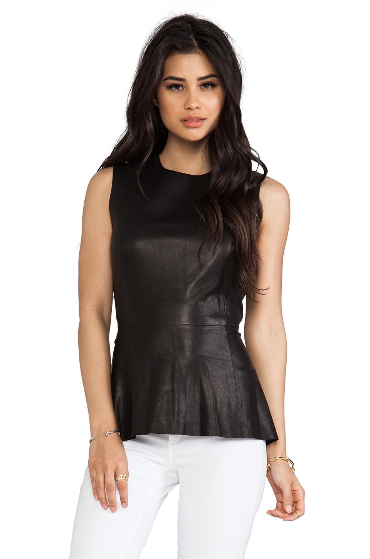 Skaist Taylor Leather Peplum Top in Black
