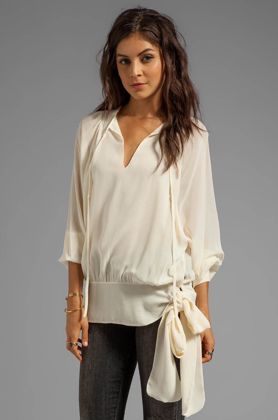 Skaist Taylor Blouse with Tie in Cream