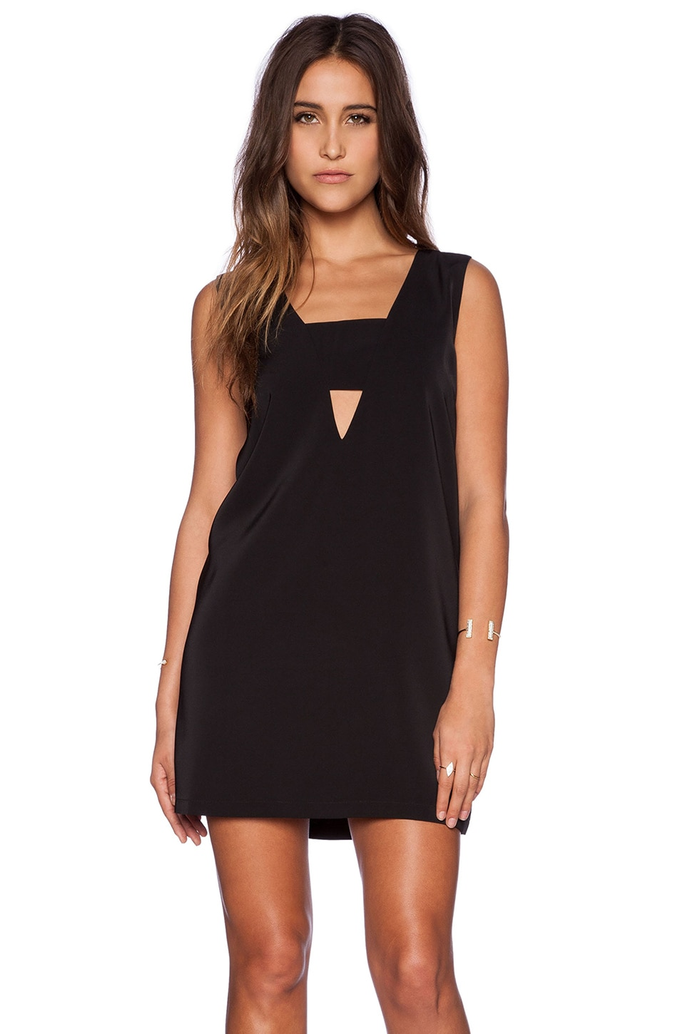 State of Being Deep V-Neck Tank Dress in Black