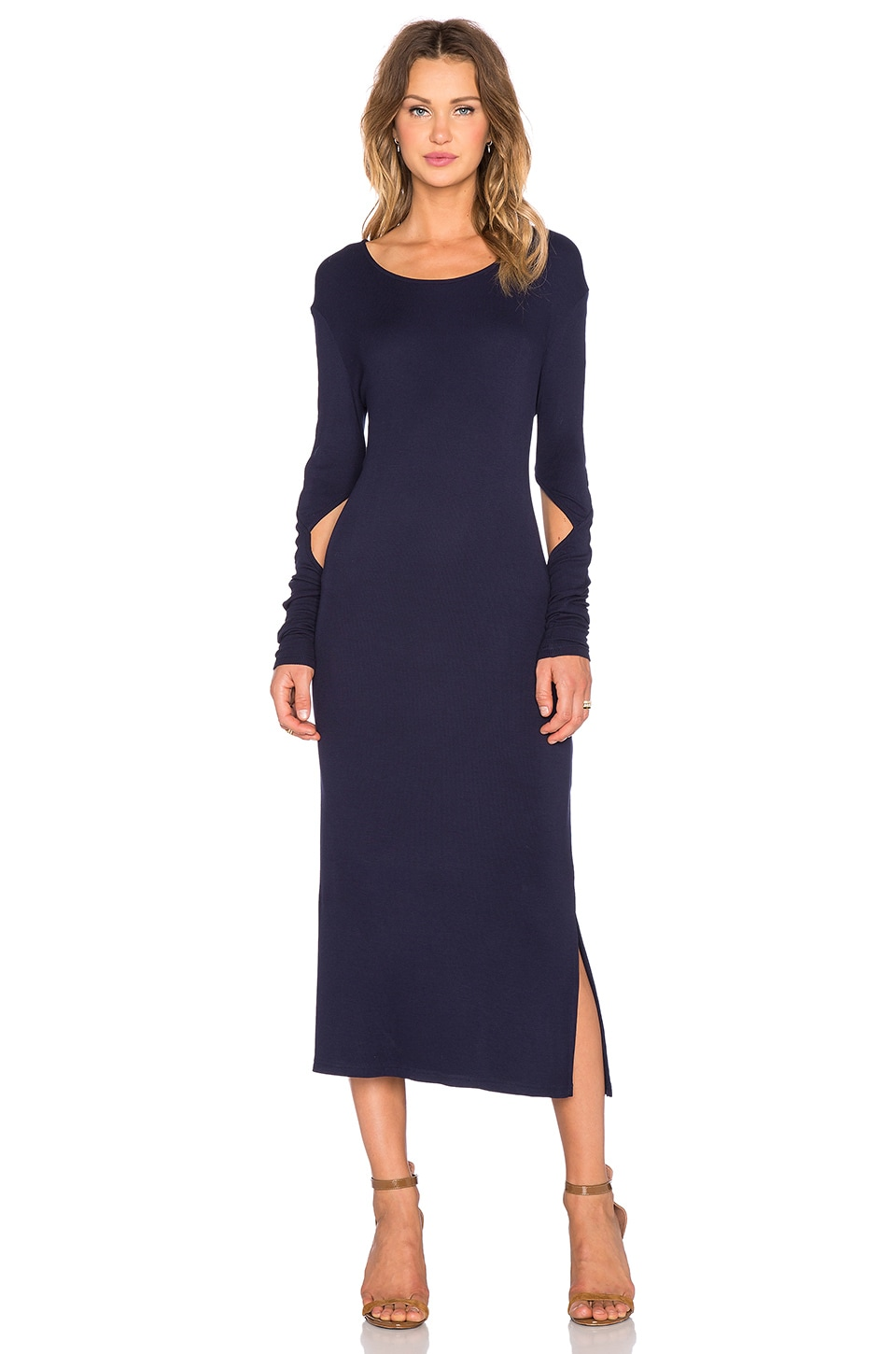 State Of Being Fine Rib Long Sleeve Dress In Navy Revolve Long sleeve dresses for anything and everything. revolve