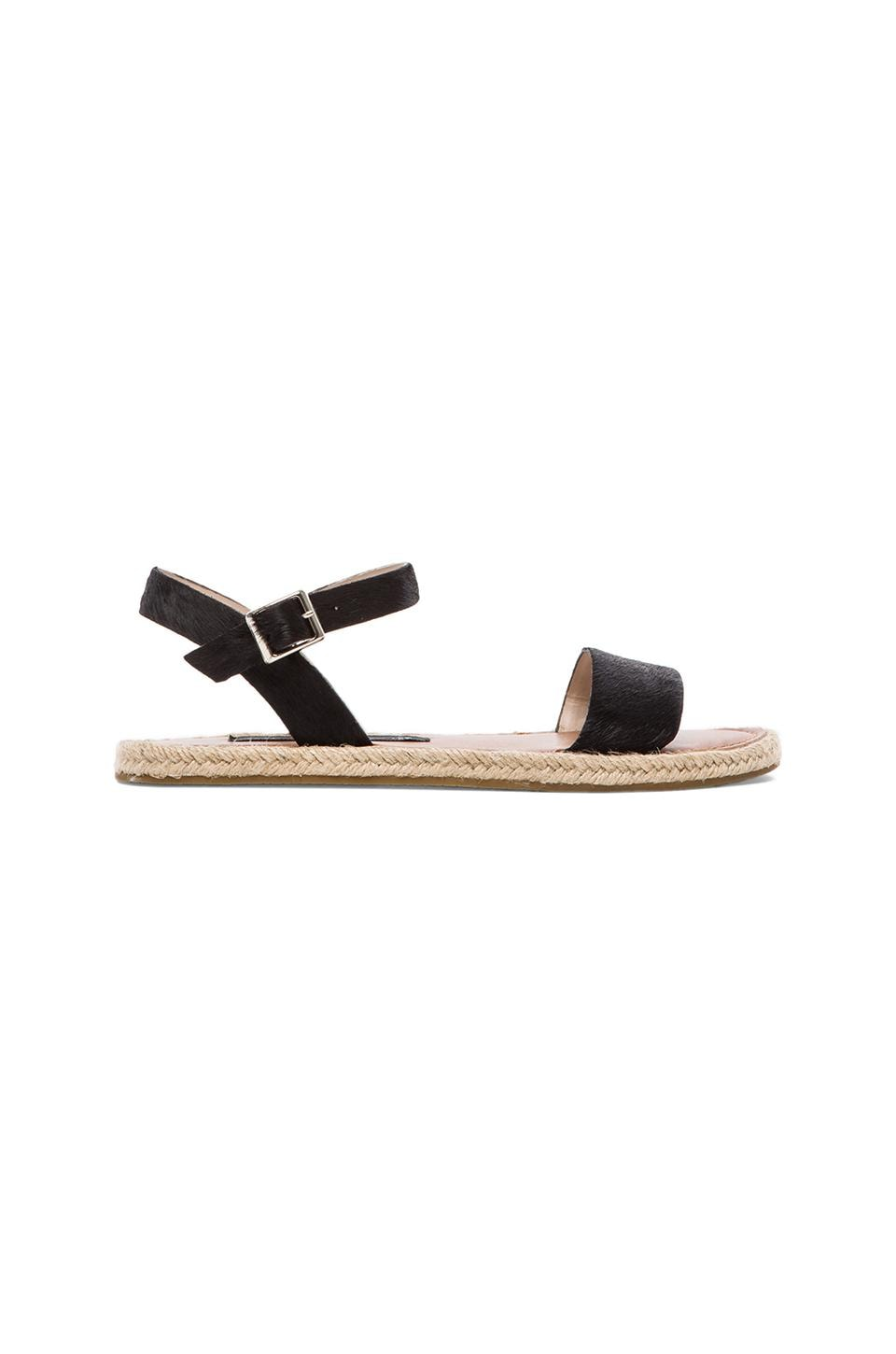 Steven Liliie Sandal with Calf Fur in Black Pony