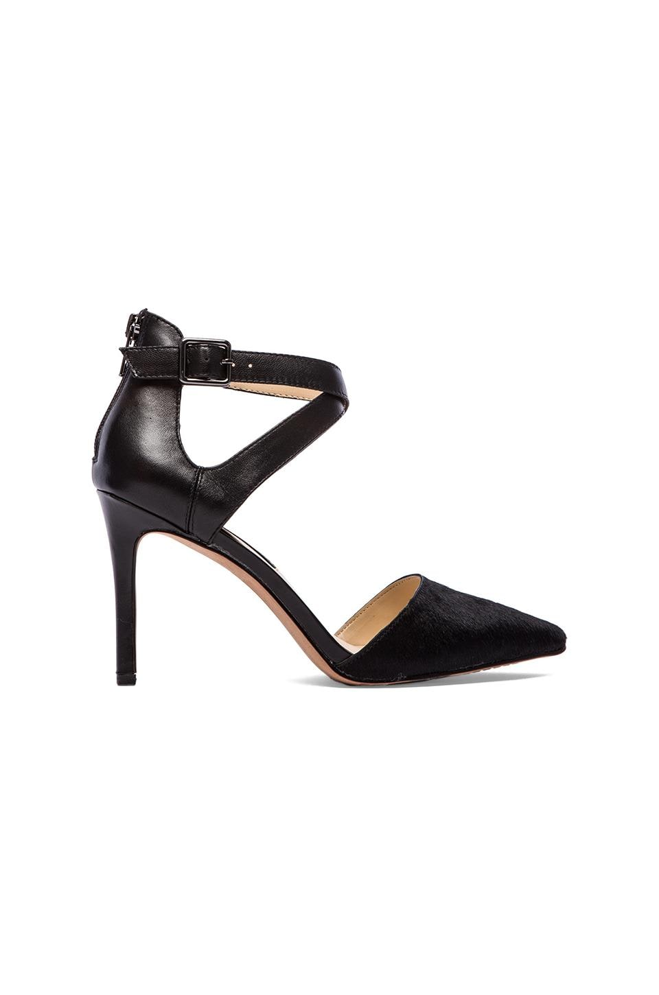 Steven Aliciaa Heel with Calf Fur in Black
