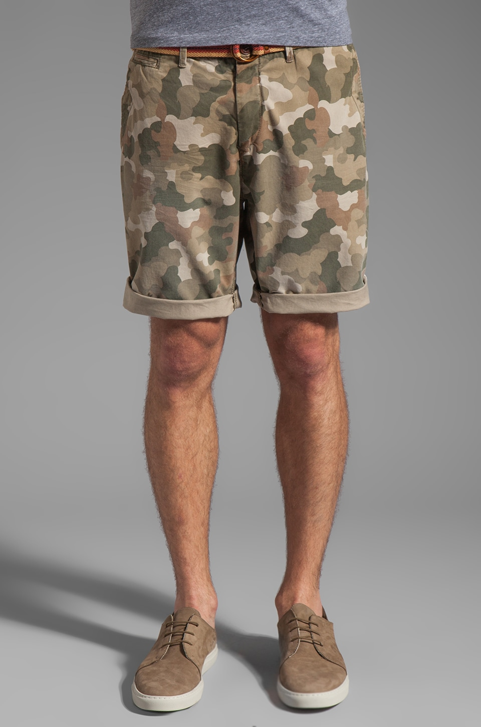 Scotch & Soda Belted Chino Short in Camo