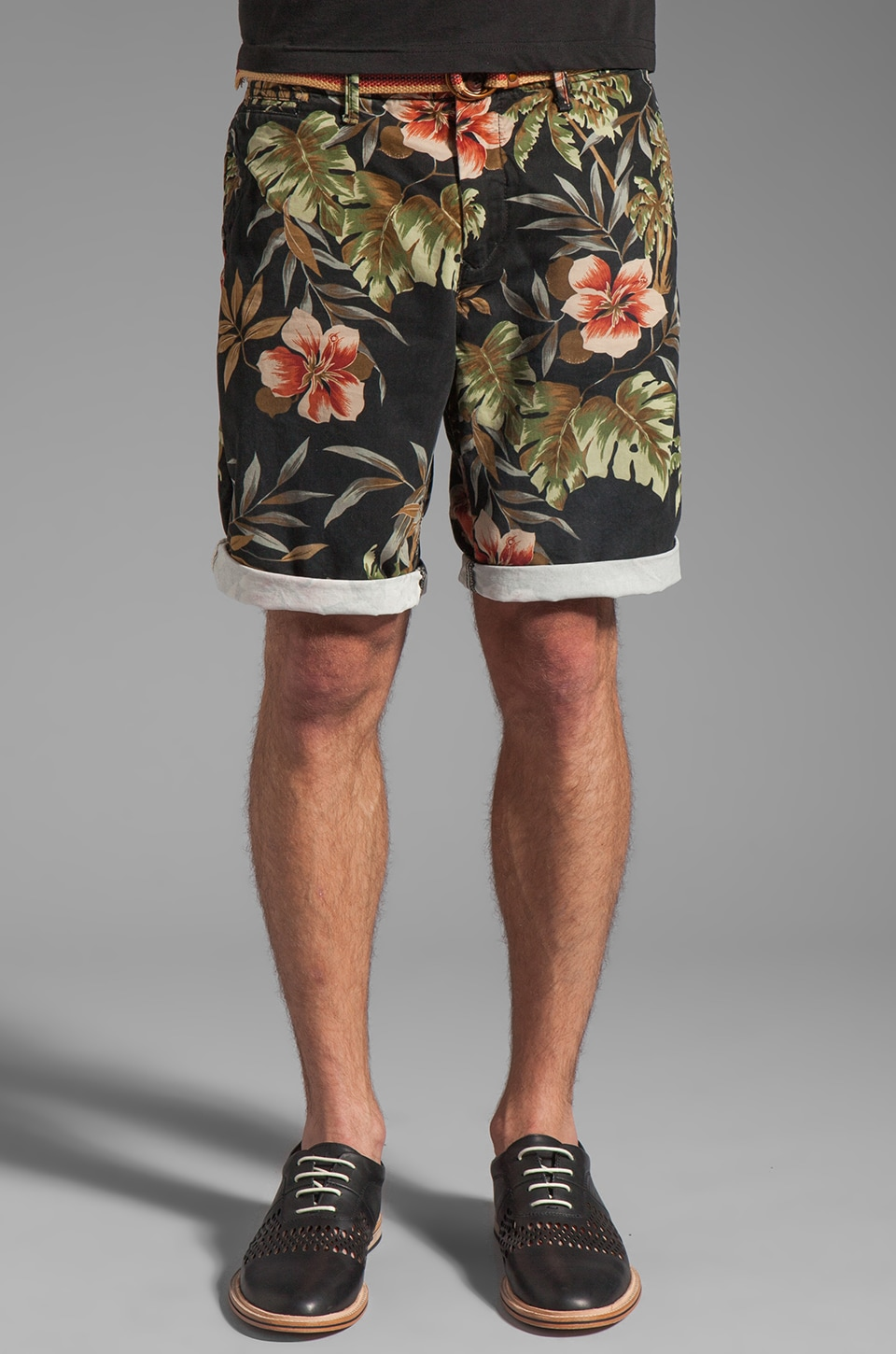 Scotch & Soda Belted Chino Short in Hawaiian
