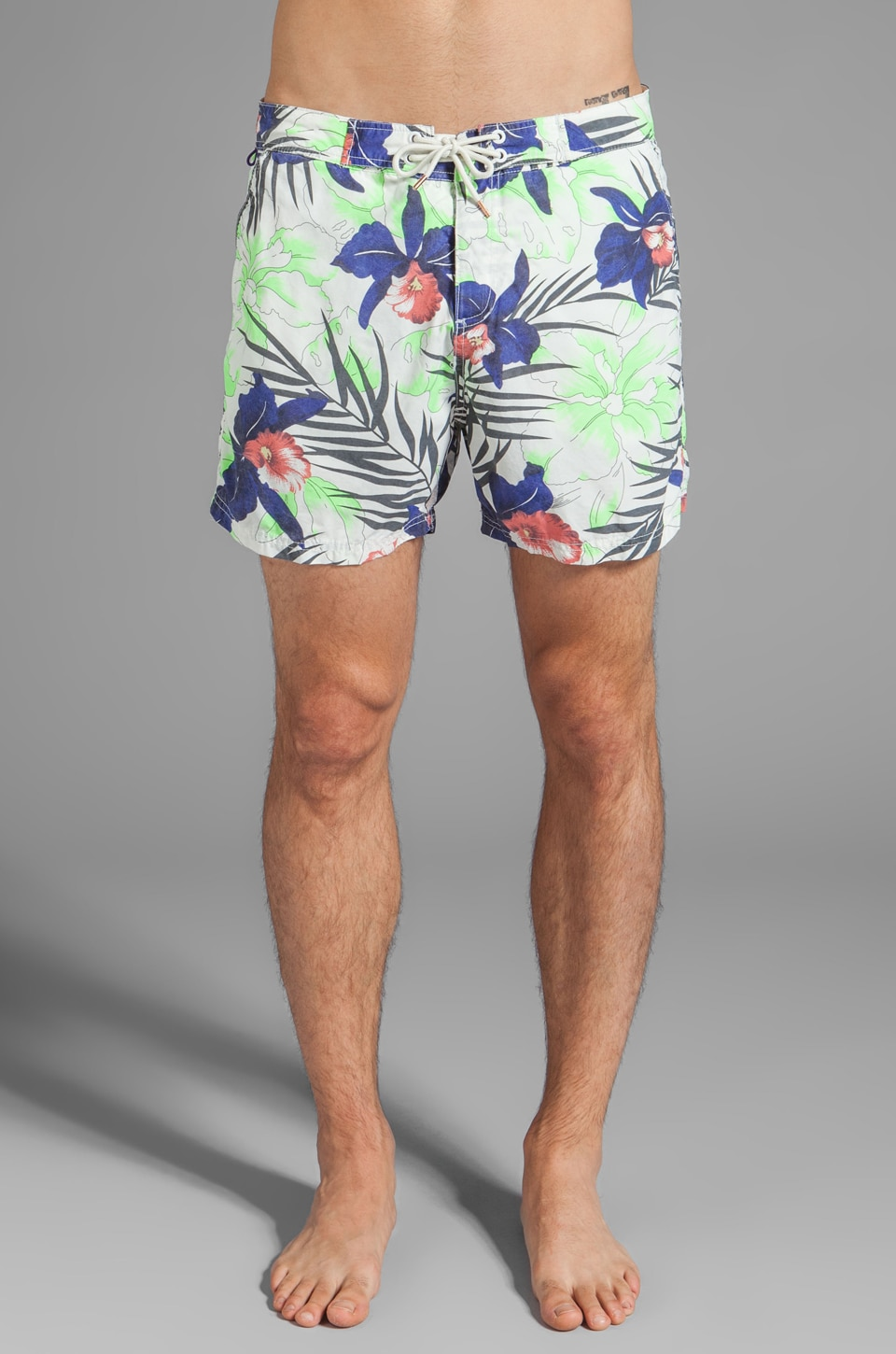 Scotch & Soda Floral Print Swim Short in Green/White/Blue