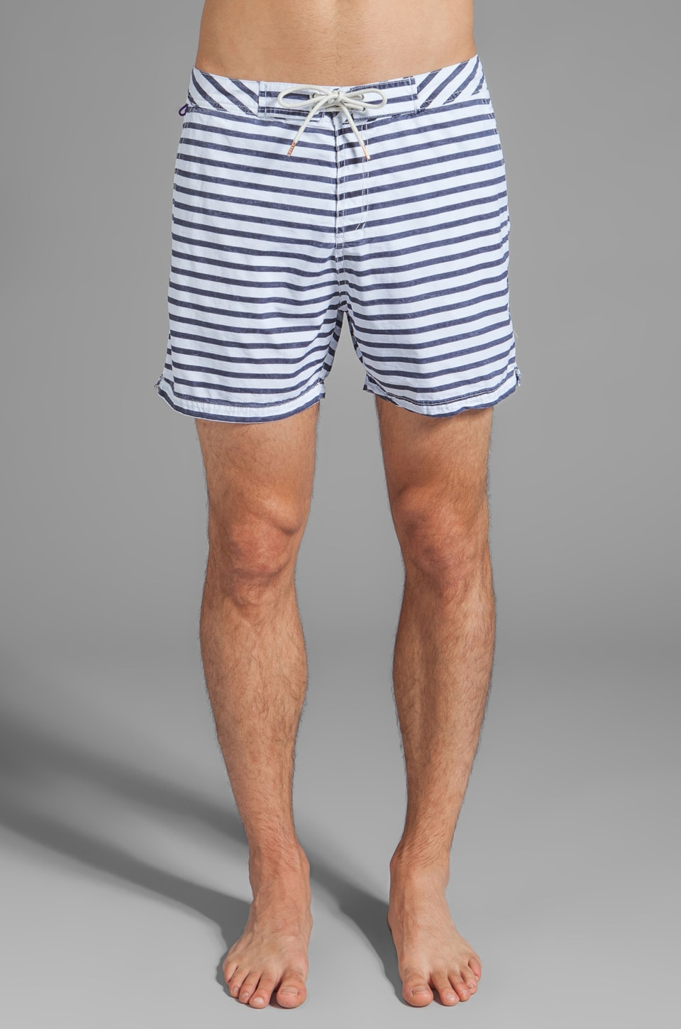 Scotch & Soda Stripe Swim Short in Navy/White